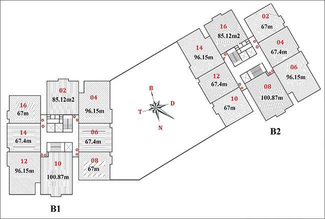 Mặt bằng căn hộ chung cư b1 b2 linh đàm