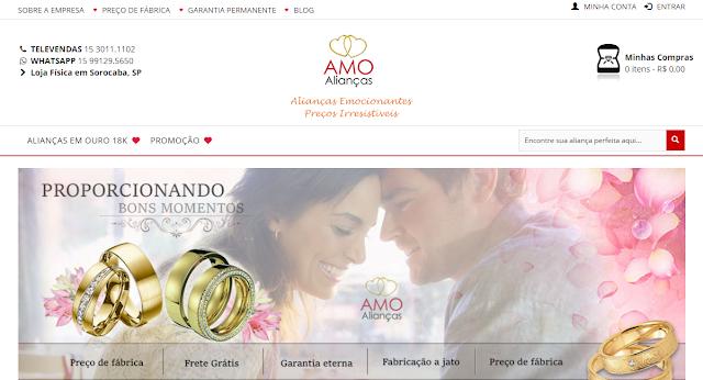 Imagem mostra um print da tela da loja Amo Alianças