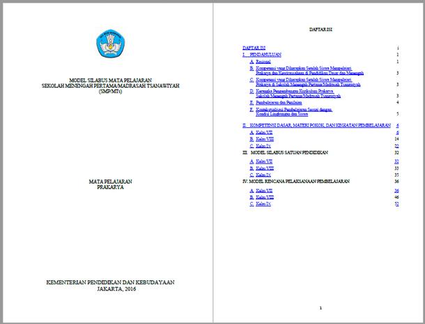 Silabus RPP Prakarya SMP MTs Kurikulum 2013 Kelas VII, VIII, IX