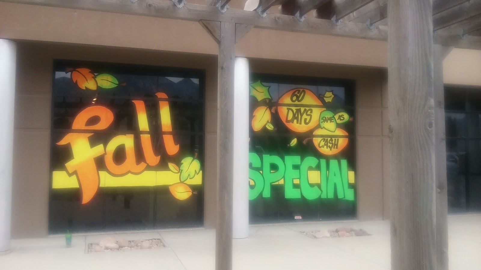 Seasonal Storefront Window Art By >> South Valley Floors Draper Utah Fall 2016 Whimsical Window Painting