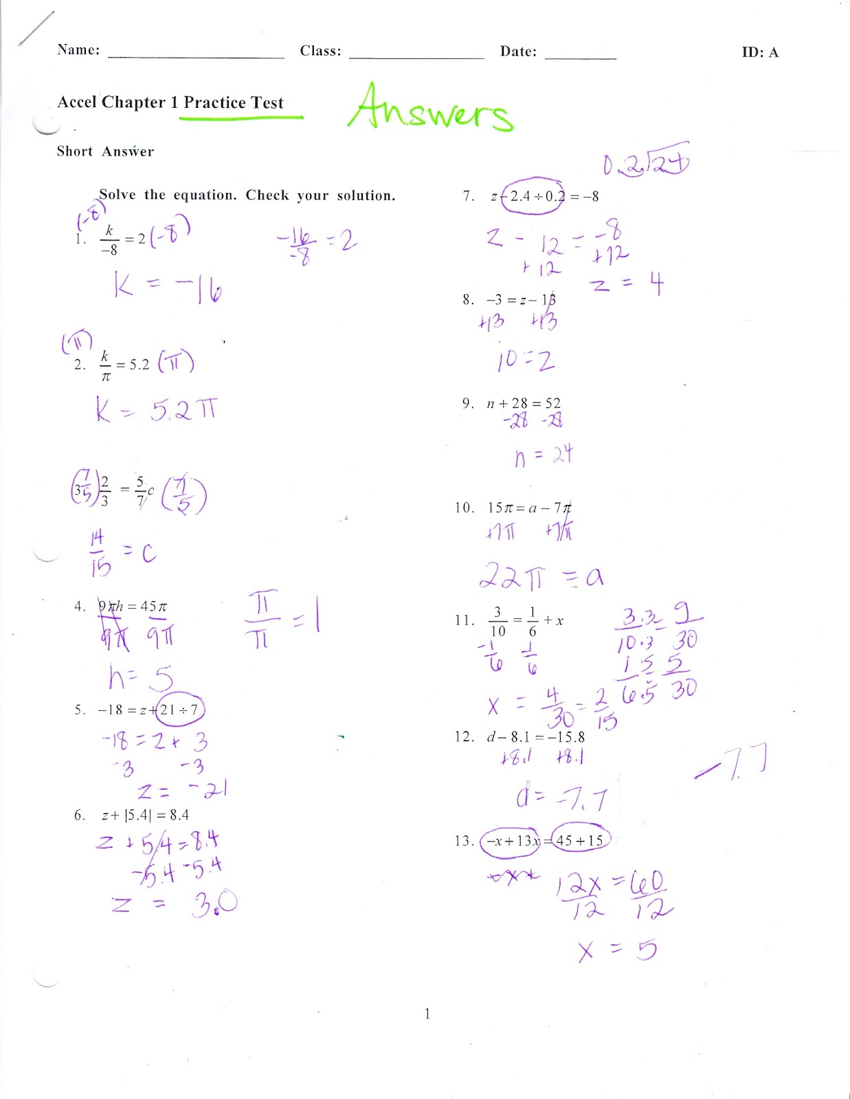Ms. Jean's ACCEL 7 Blog: Chapter 1 Practice Test Answers