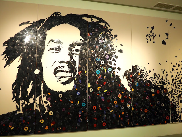 Bob Marley vinyl installation at Mr Brainwash exhibit, ARA Modern Art Museum, Seoul, South Korea