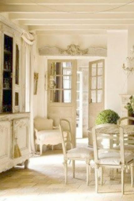 Gorgeous white French Farmhouse dining room by Pamela Pierce on Hello Lovely Studio