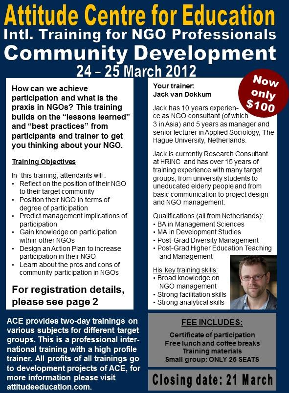 Cambodia Jobs: ACE Weekend Training: Community Development _