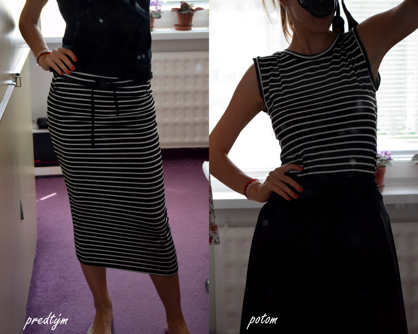 refashion / recycling: striped t-shirt from jersey midi skirt