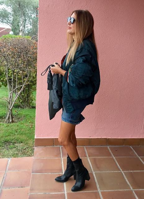 bomber, justfab, skirt, botines, tshirt, streetstyle, ophelie and marlon, zara, Carmen Hummer