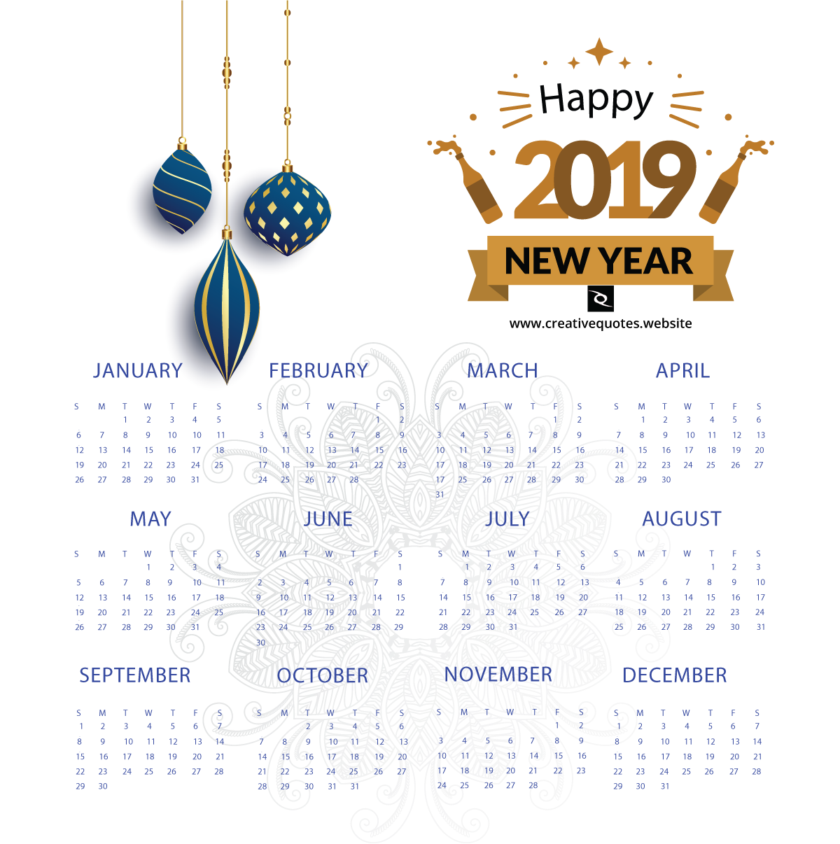 2019 calendar new year wishes calendar