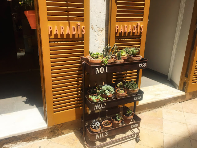 plants on trolly outside of store