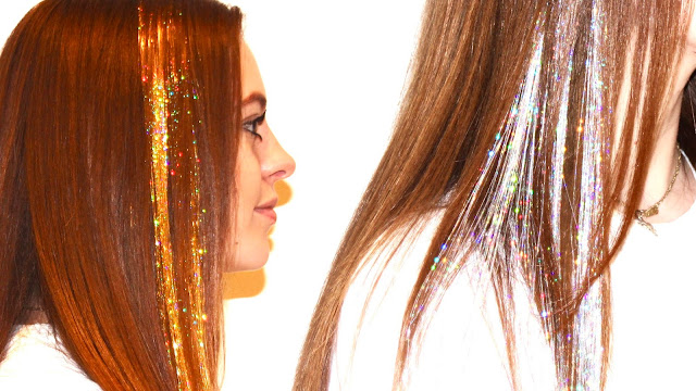 strands of gold silver or colored hair tinsel extensions will make your hair sparkle this christmas or new years eve learn how to diy