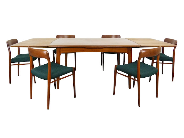 JL Niels Moller Teak Dining Table & # 75 Chairs Danish Modern 1