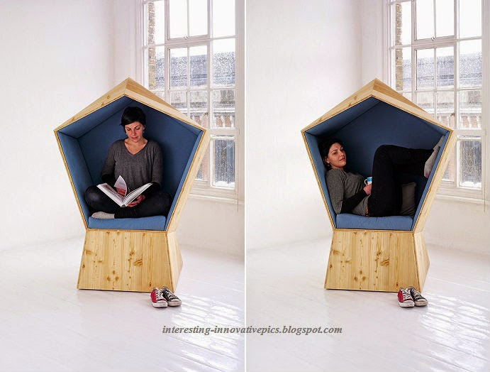 Innovative Reading cum relaxing booth type wooden chair ...