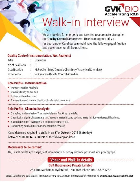 GVK BIO Walk In Drive For Quality Control at 27 October