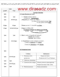 اختبار الفرنسية للسنة 5 ابتدائي فصل الثاني الجيل الثاني
