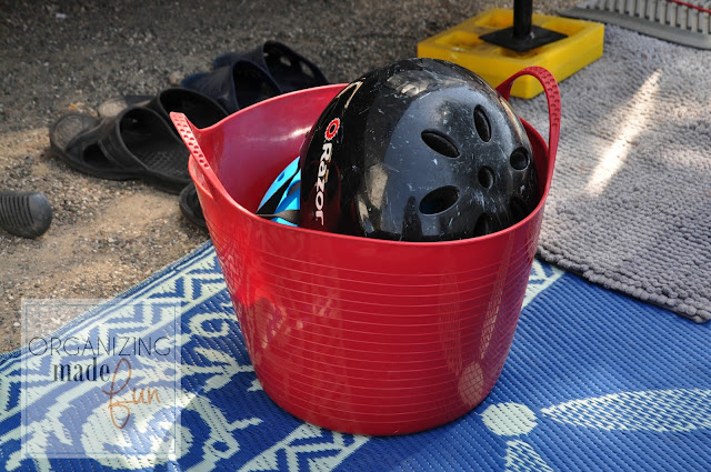 Rubber buckets for camping to hold toys and helmets :: OrganizingMadeFun.com