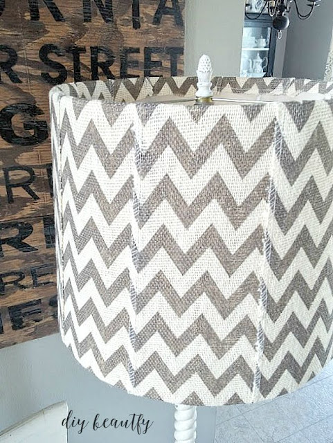 burlap covered lampshade