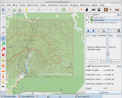 Предварительное позиционирование карты в окне  JOSM при помощи PicLayer