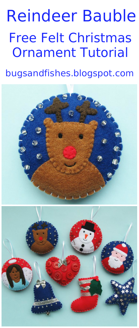 christmas ornament tutorial sew a felt reindeer bauble bugs and