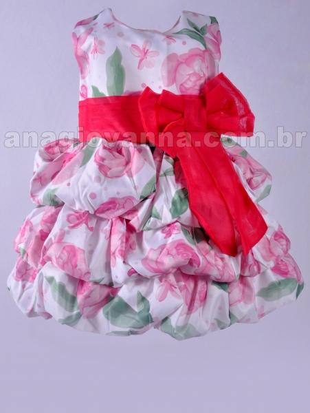 vestido balone infantil floral rosa