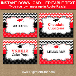 chevron graduation food labels in red and black