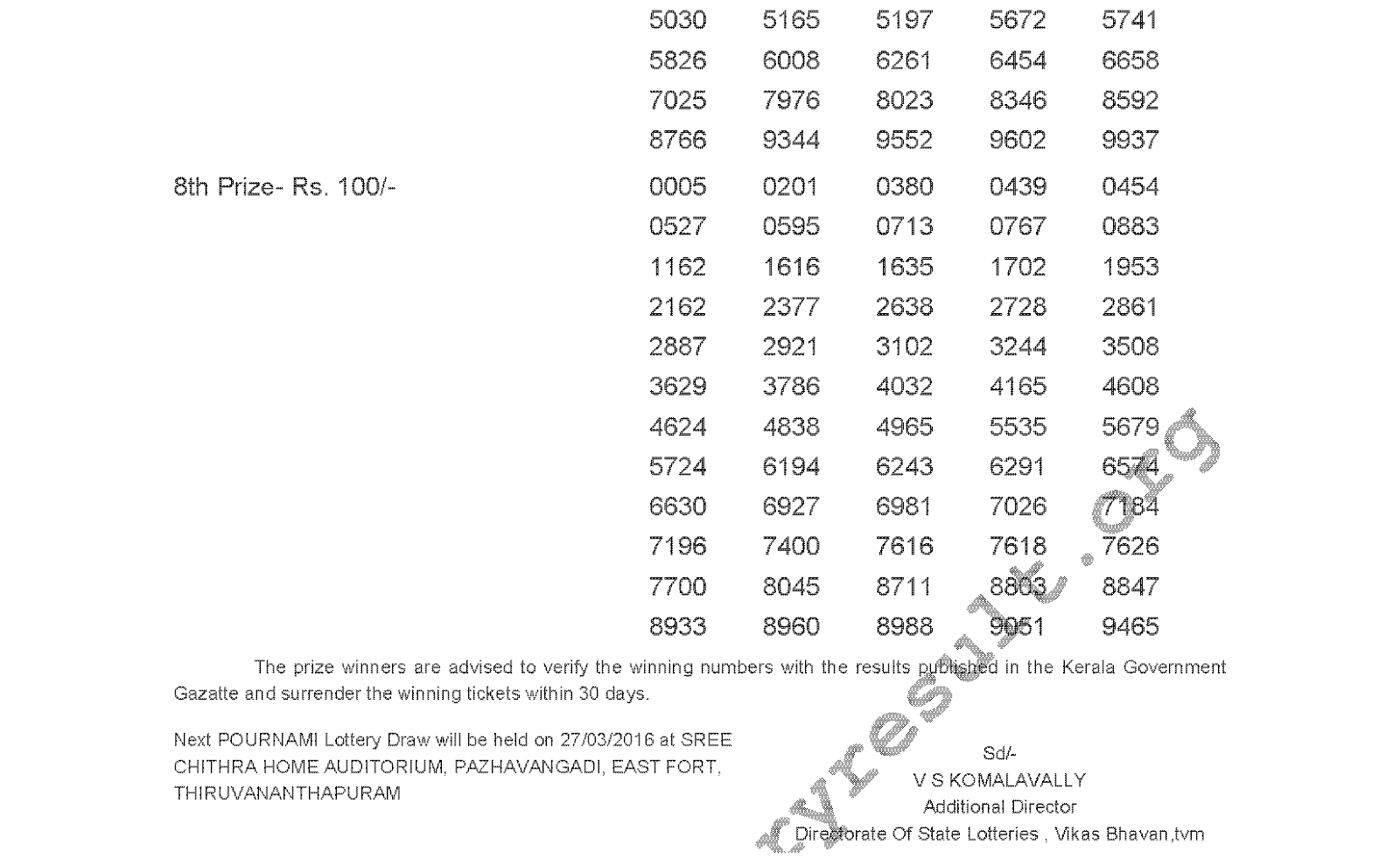POURNAMI Lottery RN 229 Result 20-3-2016