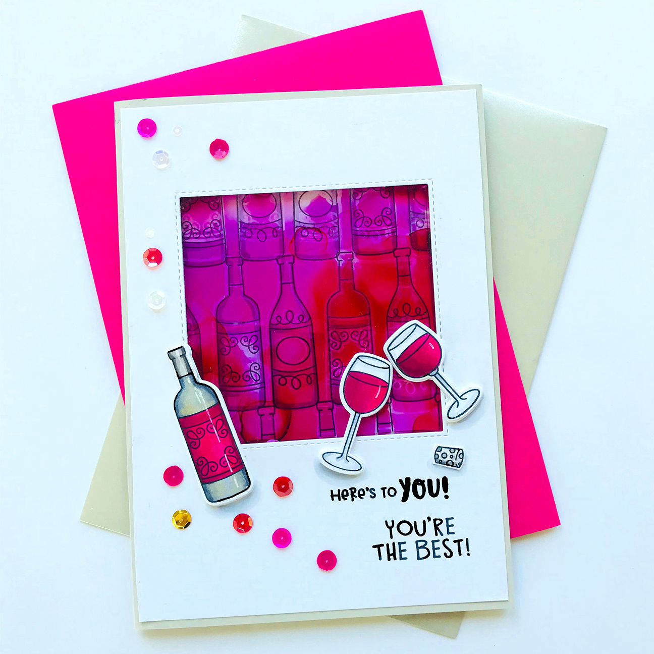 Wine Card by October Guest Designer Bobbi Lemanski | Wine A Little and Thankful Thoughts Stamp Sets by Newton's Nook Designs #newtonsnook #handmade