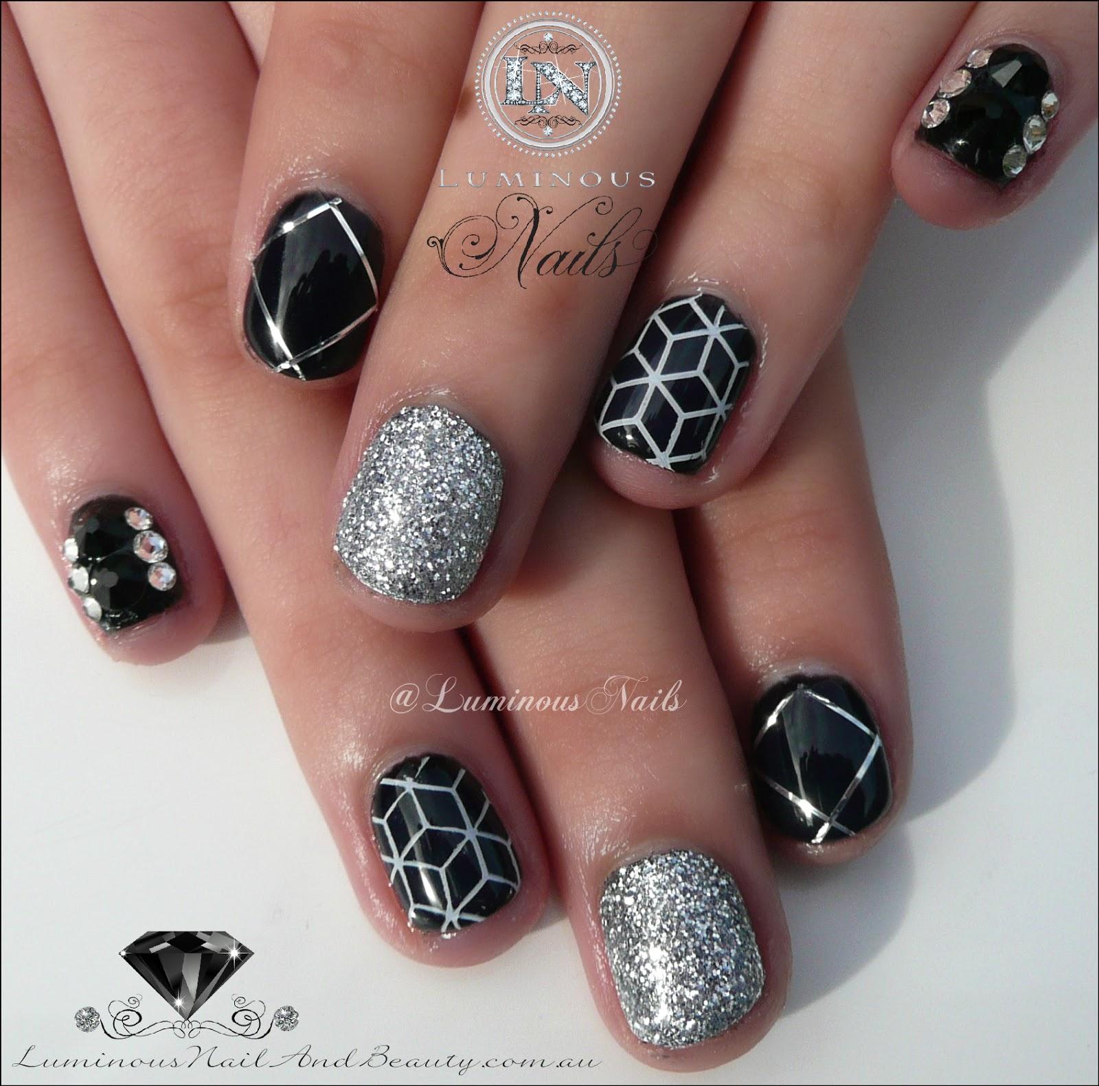 Cute Geometric Black Silver Gel Nails