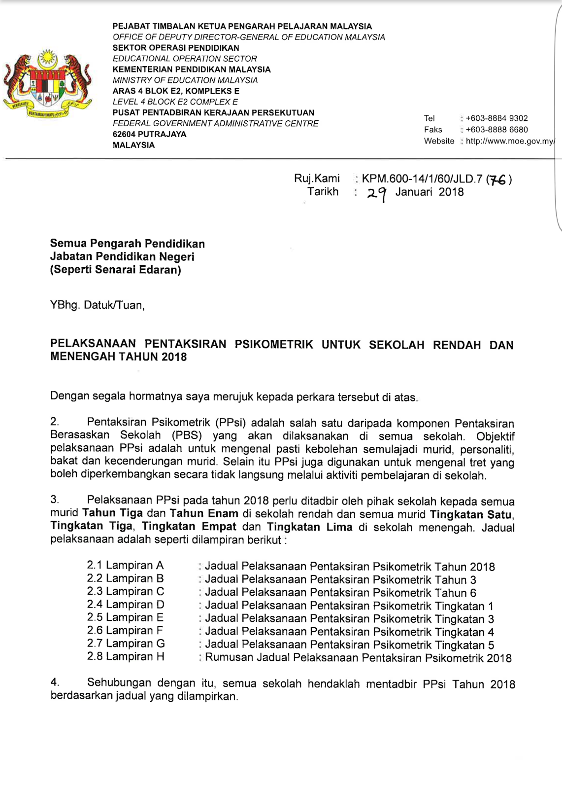 Kaunselor Nurhaiza Che Mat Jadual Perlaksanaan Pentaksiran Psikometrik 2018