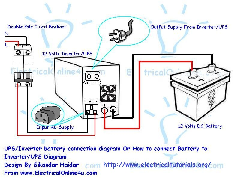 inverter ups battery connection diagram electrical tutorials rh electricaltutorials org Basic Circuit Diagram Converter Circuit Diagram