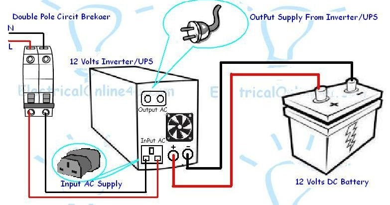 Inverter  UPS Battery Connection Diagram  Electrical Tutorials