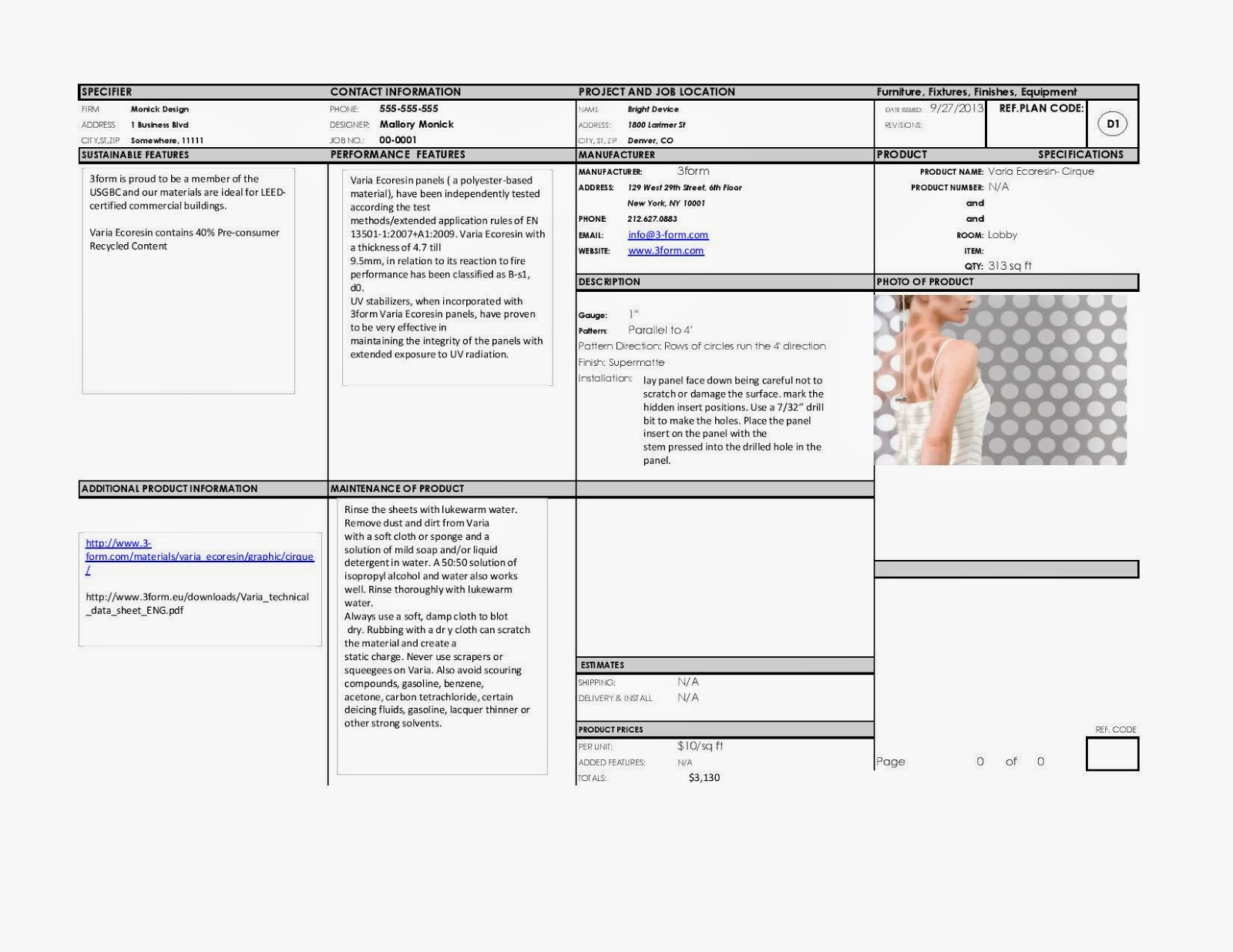 Interior design by mallory spec sheets and enlarged plans - Interior design materials and specifications ...
