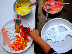 setup for candy mosaic kids art activity