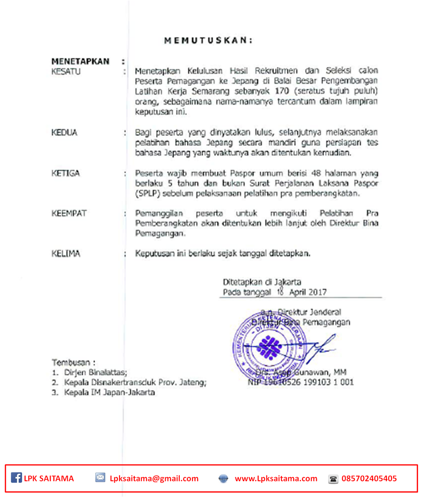 Hasil Meical Check Up dapat di ambil di LPK SAITAMA Jl Pahlawan No 9 Prajenan Mertoyudan Magelang