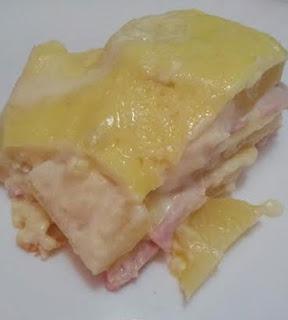 presunto, queijo, batata, requeijão, batata gratinada, lasanha de batata