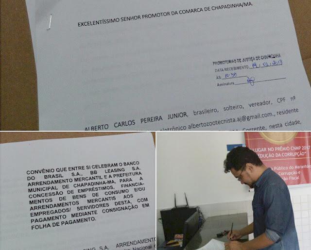 Vereador Alberto Carlos protocolando denuncia contra Magno Bacelar