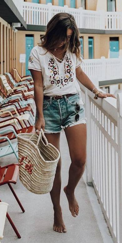 summer outfit: top + bag + denim shorts