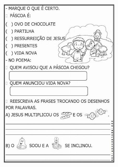 Páscoa: Atividades de leitura, interpretação e gramática