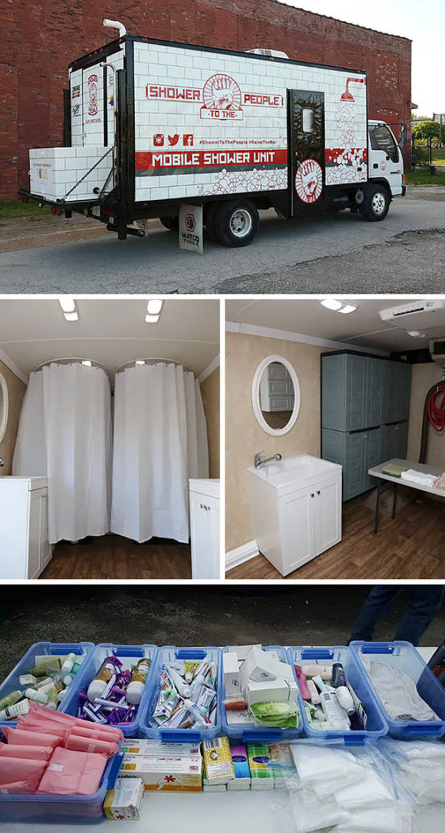 Man Turns Old Truck Into Mobile Shower For Homeless People.