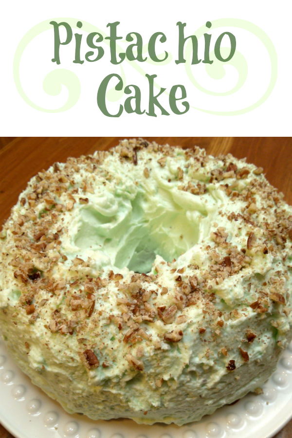 Pistachio Cake! Also called Watergate Cake, this moist cake uses pistachio pudding in the cake and in the frosting. This is a perfect dessert for Easter, St. Patrick's Day and Christmas!
