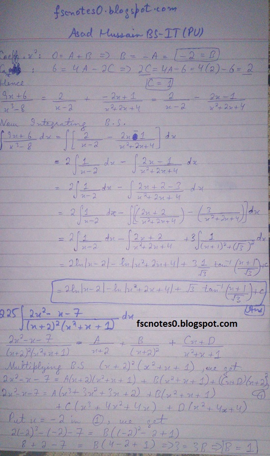 FSc ICS Notes Math Part 2 Chapter 3 Integration Exercise 3.5 question 23 - 31 by Asad Hussain 2