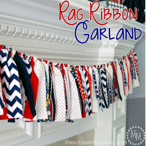Rag Ribbon Garland from the Scrap Shoppe tutorial blog