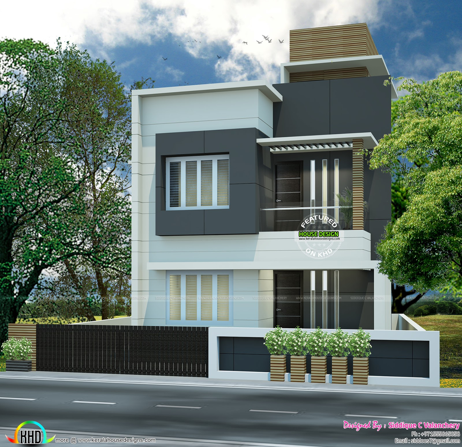 Ground Floor Area : 555 Sq. Ft. First Floor Area : 535 Sq. Ft. Total Area :  1090 Sq. Ft. No. Of Bedrooms : 3. Design Style : Flat Roof