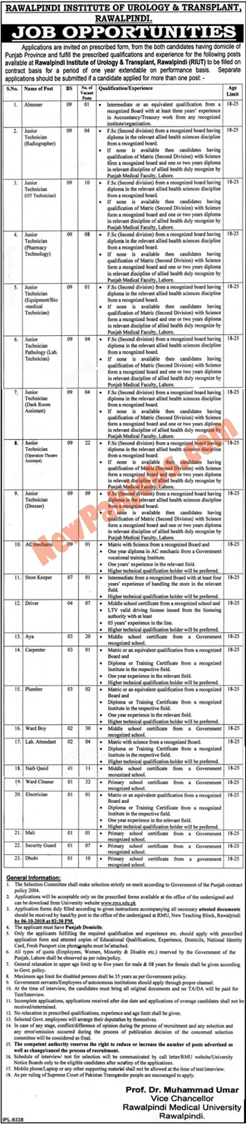 Latest 191 Vacancies In Rawalpindi Institute Of Urology & Transplant 2018