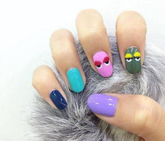 colored gel ,western nail art, designs