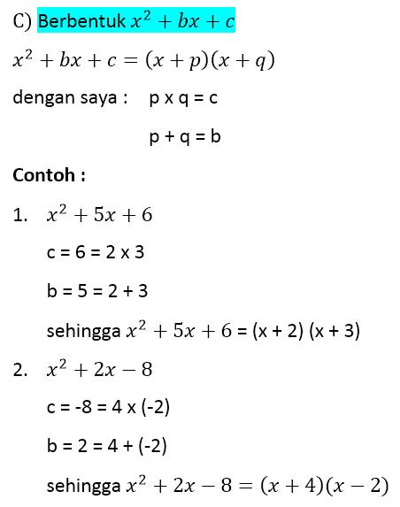 bentuk aljabar pemfaktoran bentuk aljabar dengan a = 1