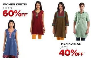 Buy Shree Men's Kurta for Rs.299 & Women's Kurti for Rs.209 @ Myntra