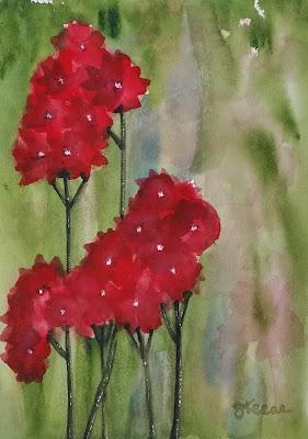 Loose Red Flowers - Watercolor - JKeese