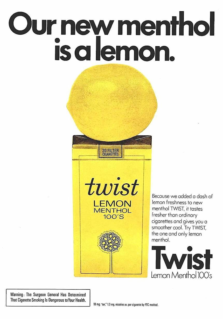 1974 Twist cigarettes advertisement package, lemon yellow