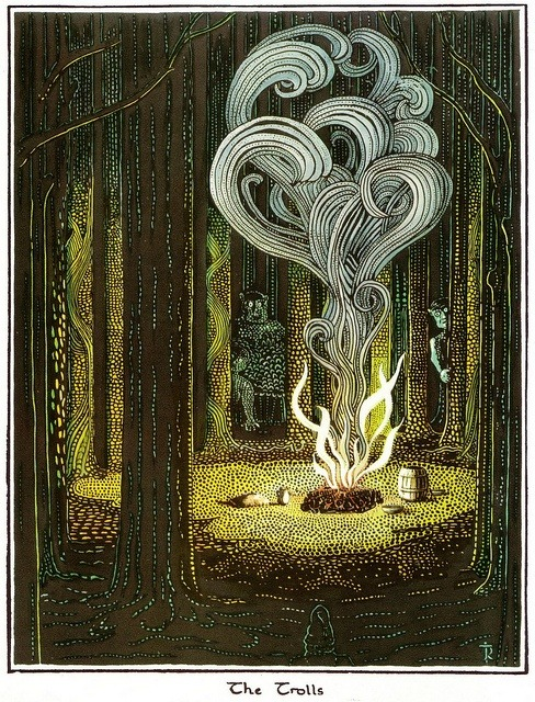 The Trolls. Illustration for The Hobbit by J.R.R. Tolkien