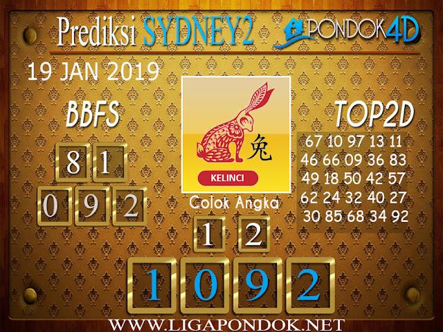 Prediksi Togel SYDNEY2 PONDOK4D 19 JANUARI 2019