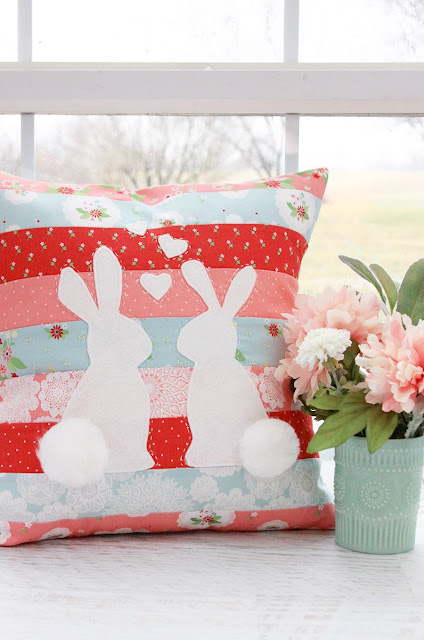 Spring bunnies in love pillow. Easy sewing project.